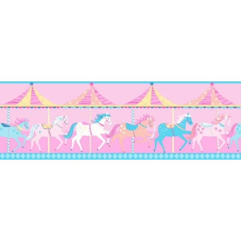 Buy Carousel Blue Border Fd Dlb50080 Pink Kids Room Wallpaper