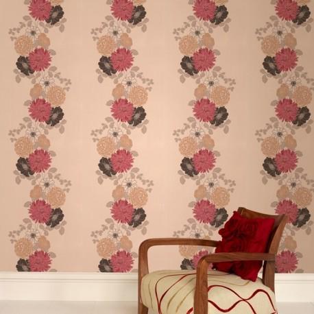 Red cream wallpaper floral wallpaper adore wallpaper direct - Red brown and cream wallpaper ...