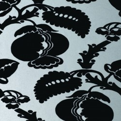 Eglantine Black & Silver Flock Wallpaper