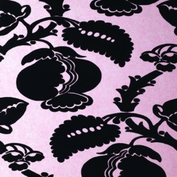 Eglantine Black & Red Flock Wallpaper