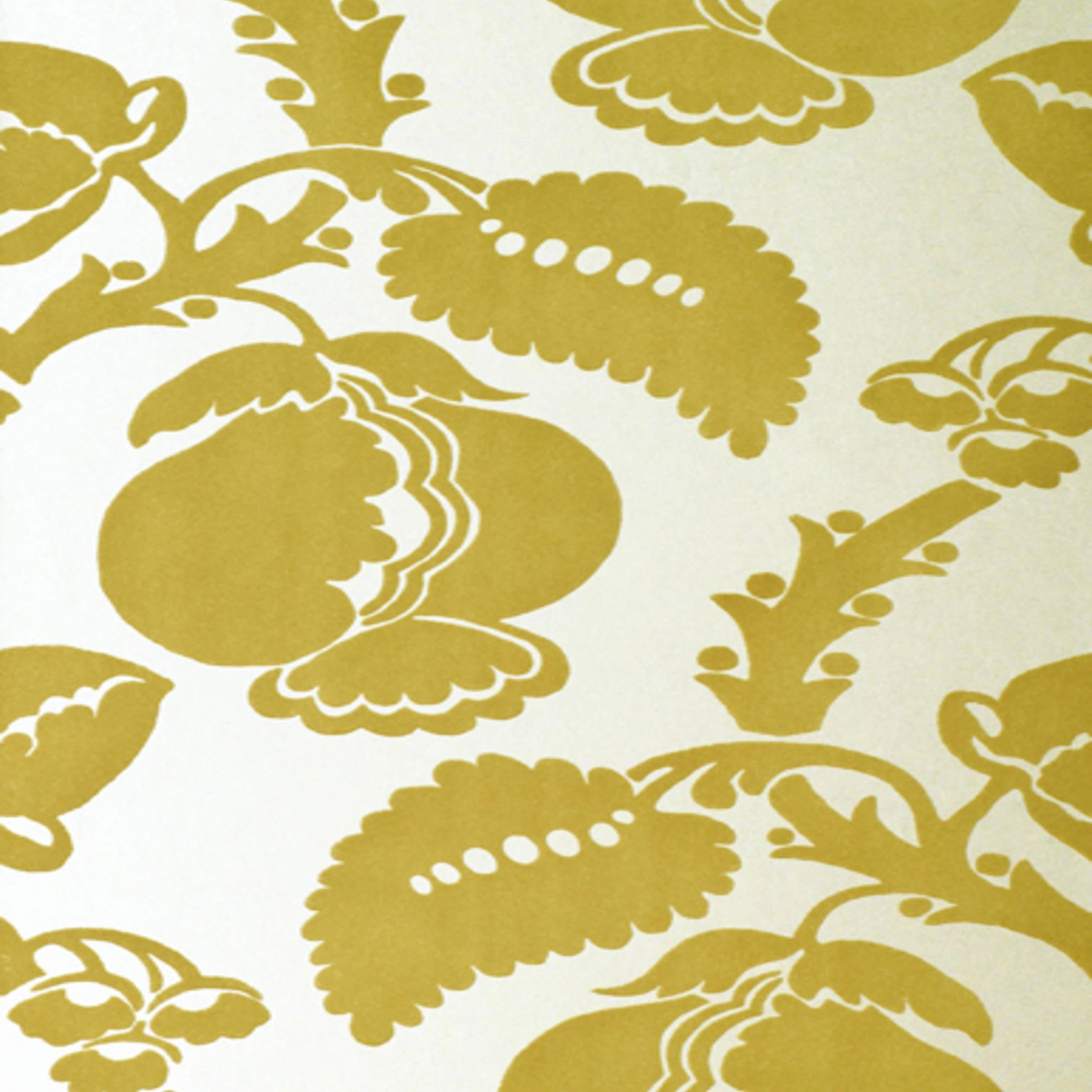Wanders blue wanders forest flocked wallpaper damask wallpaper - Eglantine Gold Flock Wallpaper