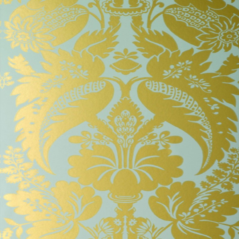 Tyntesfield Gold Duck Egg Blue Damask At10047 Wp078