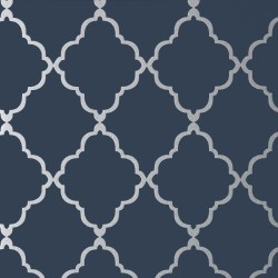 Klein Trellis Silver on Navy
