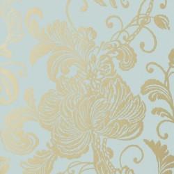 Verey Floral Damask Metallic Gold on Aqua Blue