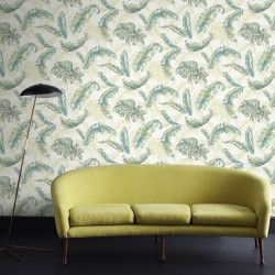 Gilded Feather Teal Green Wallpaper