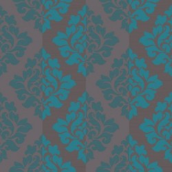 Nightfall Teal Flock Damask Wallpaper