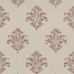 Yala Linen Beige and Red Damask