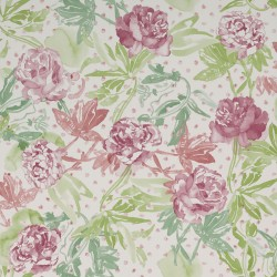 Roses Watercolour Fresh Green and Pink Wallpaper