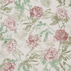 Roses Watercolour Wine Red and Green Wallpaper