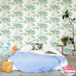 Jungle Watercolour Green Floral Wallpaper