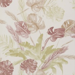 Jungle Watercolour Wine Red Floral Wallpaper