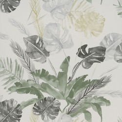 Jungle Watercolour Gold and Silver Grey Floral Wallpaper