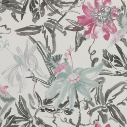 Flowers Watercolour Silver Grey and Pink Wallpaper