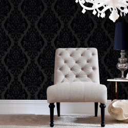 Kinky Vintage Blue Flock Damask Wallpaper