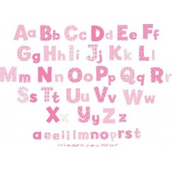 Alphabet Girls Nursery Pink Wall Stickers