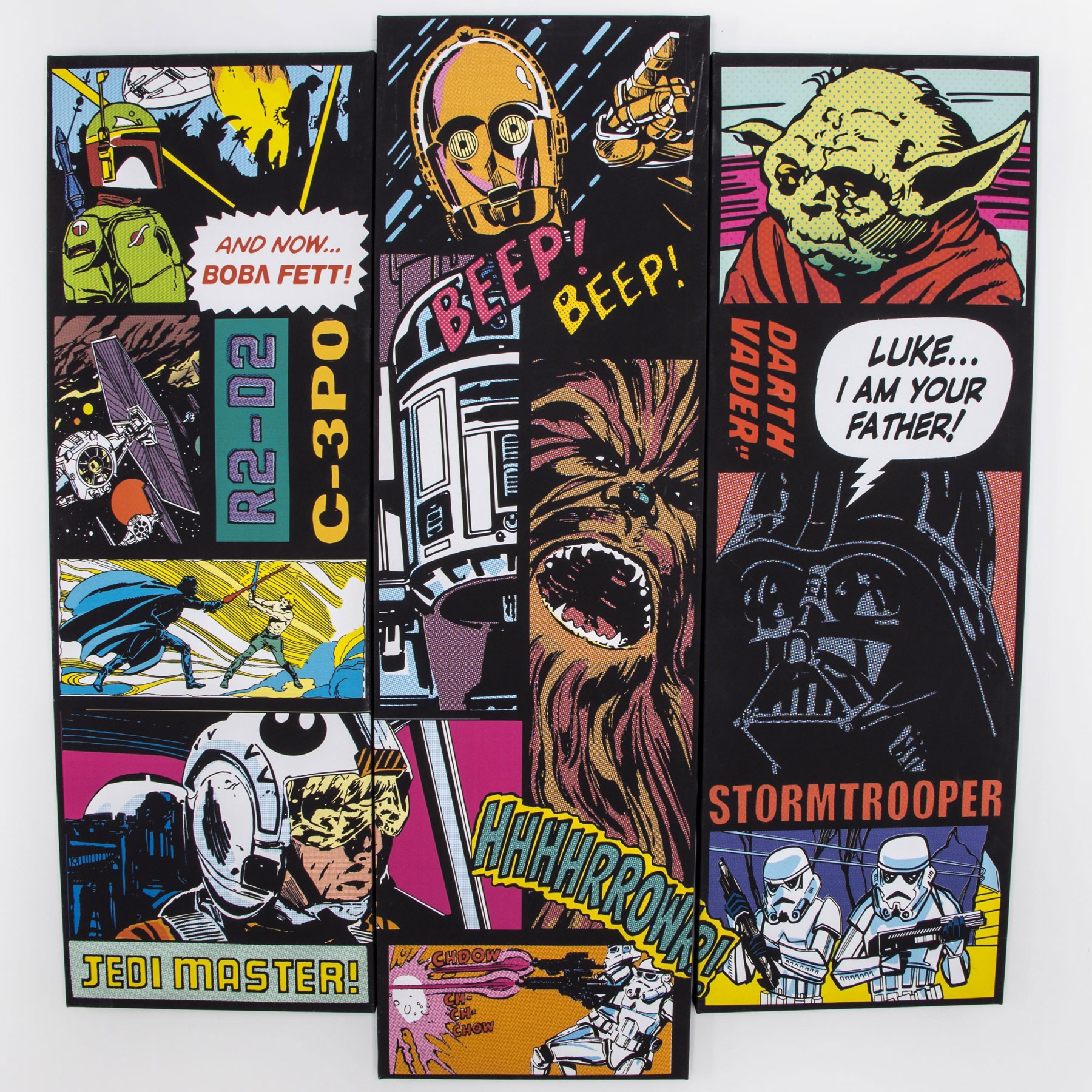 designer digital wall art buy wall art online star wars comic collage set of 3 canvas