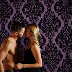 Kinky Vintage Purple Flock Damask Wallpaper