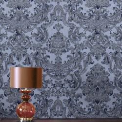 Montague Blue Damask Wallpaper
