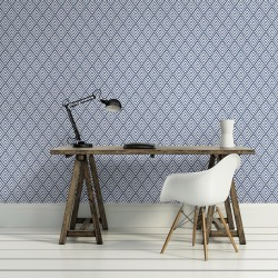 Vertex White and Navy Blue Wallpaper