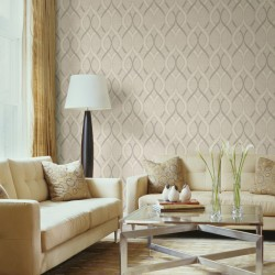 Frequency Taupe Grey and Gold Wallpaper