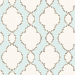 Structure Teal Blue and Cream Trellis