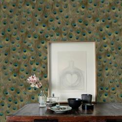 Peafowl Original Brown Wallpaper