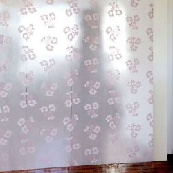 Hibiscus White and Silver Wallpaper