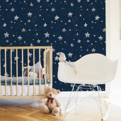 Via Lactea Stars Silver Wallpaper