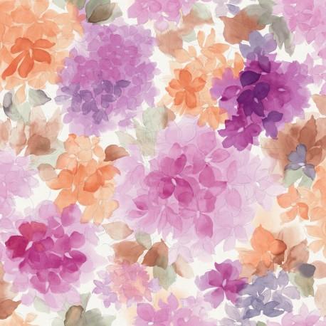mae purple and orange floral wallpaper. Black Bedroom Furniture Sets. Home Design Ideas