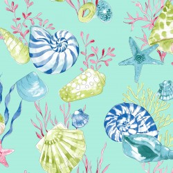 Conchas Orange and Blue Sea Shell Wallpaper