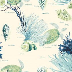 Coral Sea Life Turquoise & Green Wallpaper