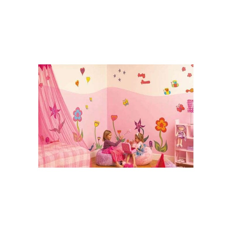 pics photos funky flower wall stickers