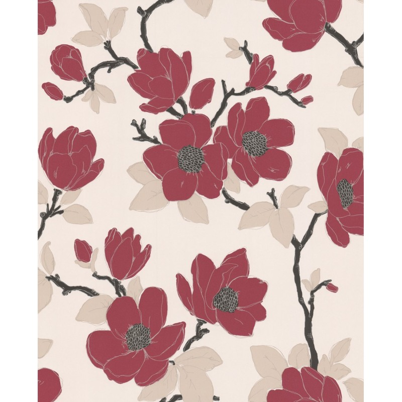 Elinor red and cream flowers wallpaper red and cream - Red brown and cream wallpaper ...