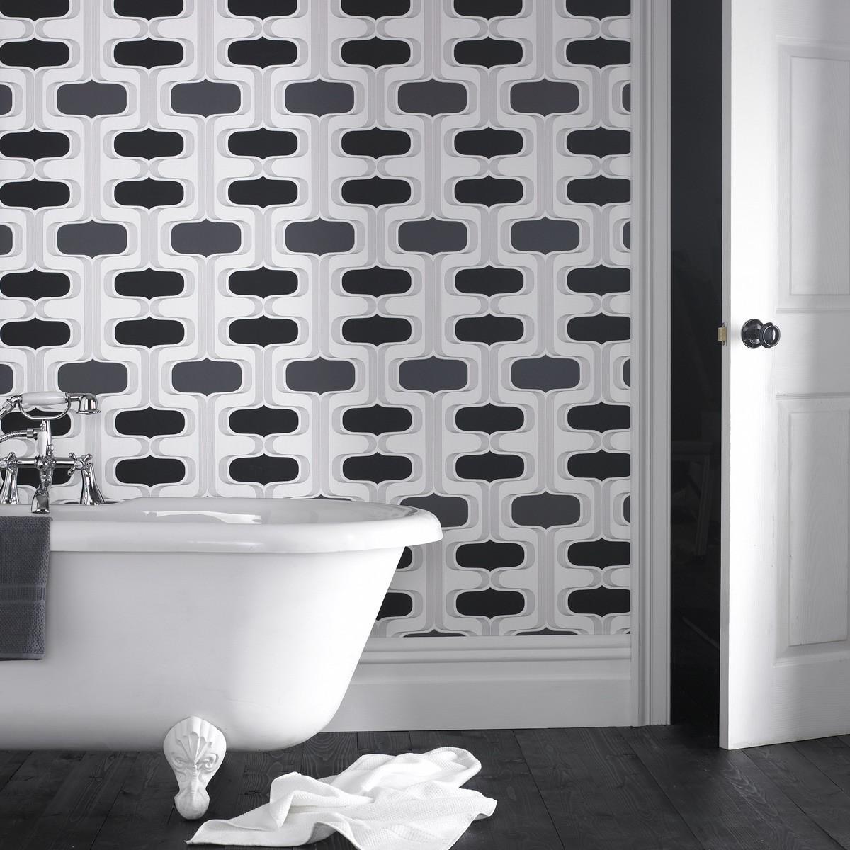 Groovy Black U0026 White Funky Wallpaper
