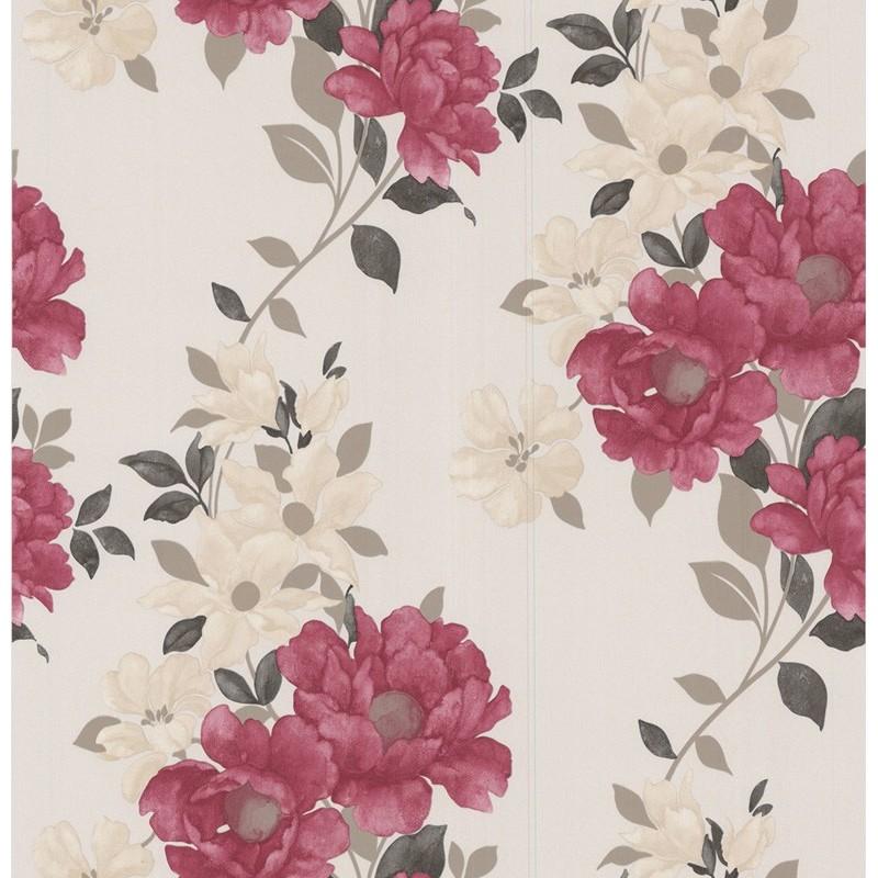 Red cream wallpaper graham brown wallpaper duchessa - Red brown and cream wallpaper ...
