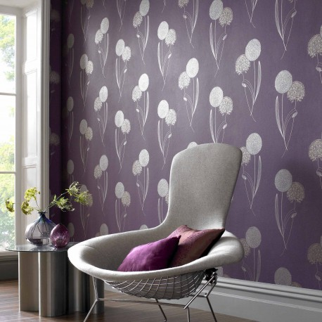 Alium purple wallpaper alium purple 58196 wallpaper direct for Purple feature wallpaper living room