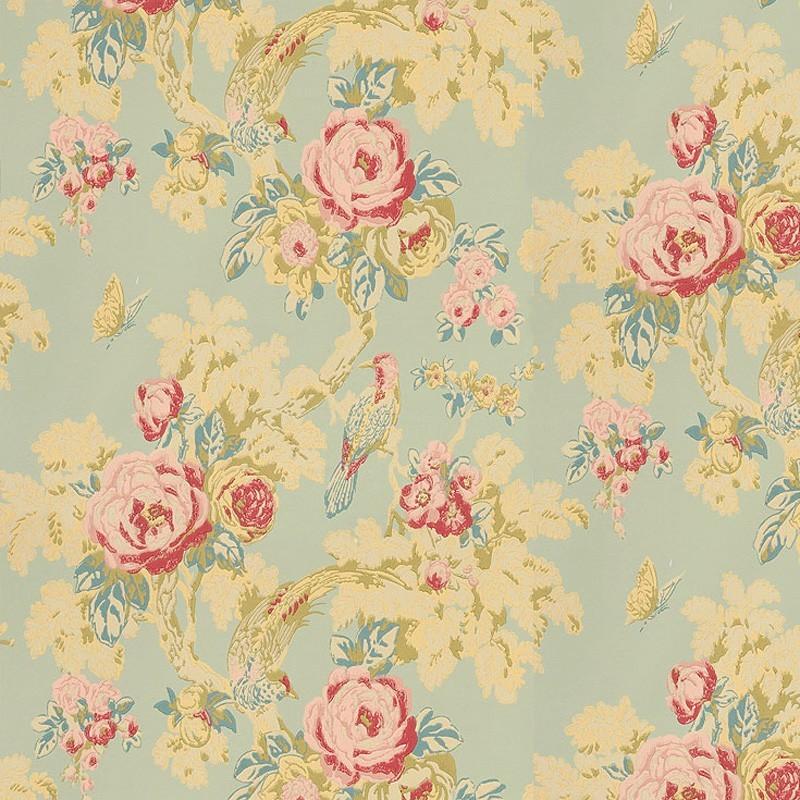 bird in the bush flower duck egg blue at10117 wp071. Black Bedroom Furniture Sets. Home Design Ideas