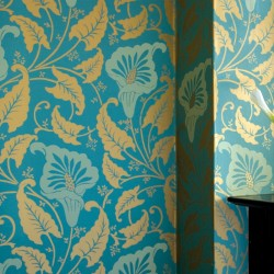 Lavinia Gold on Teal Wallpaper