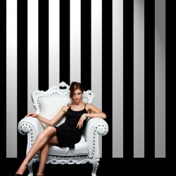 Couture Stripe Black Velvet Flock and White