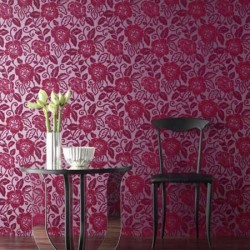 Belle Fuchsia Pink Flock Wallpaper