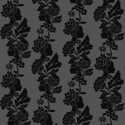 Damask Ladies Black Wallpaper