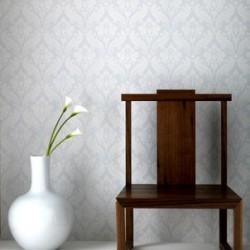 Vintage Flock White Wallpaper