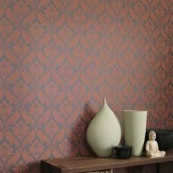Vintage Flock Burnt Orange Wallpaper
