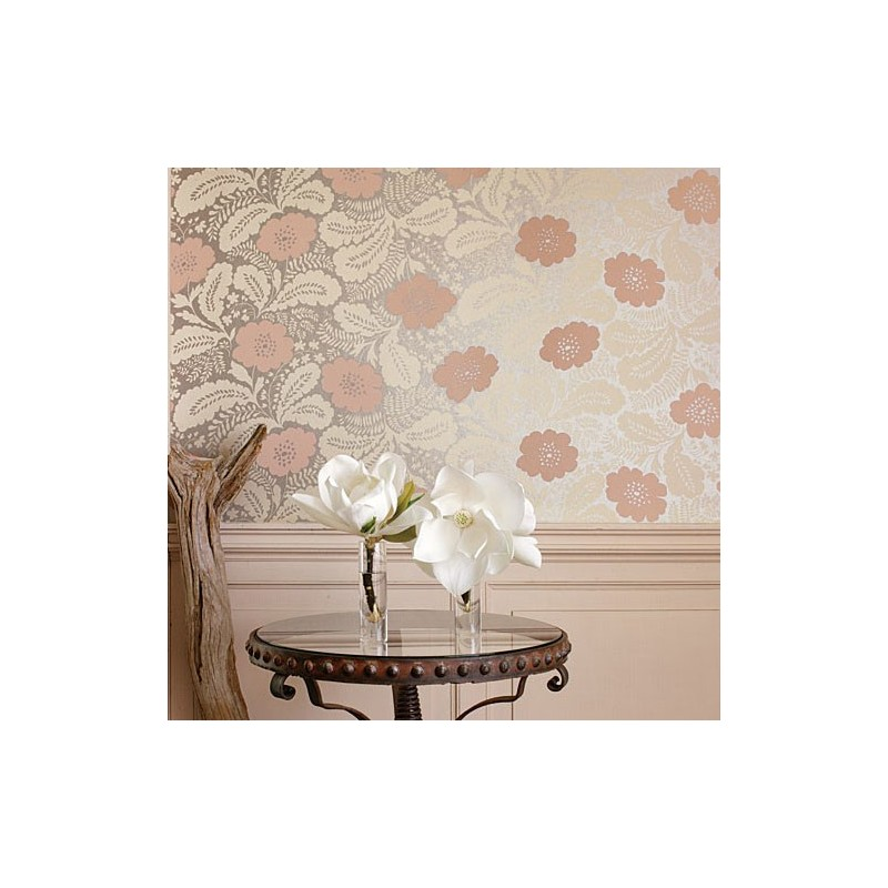 Ash salmon pink on metallic coral at10081 wp047 for Ash wallpaper mural