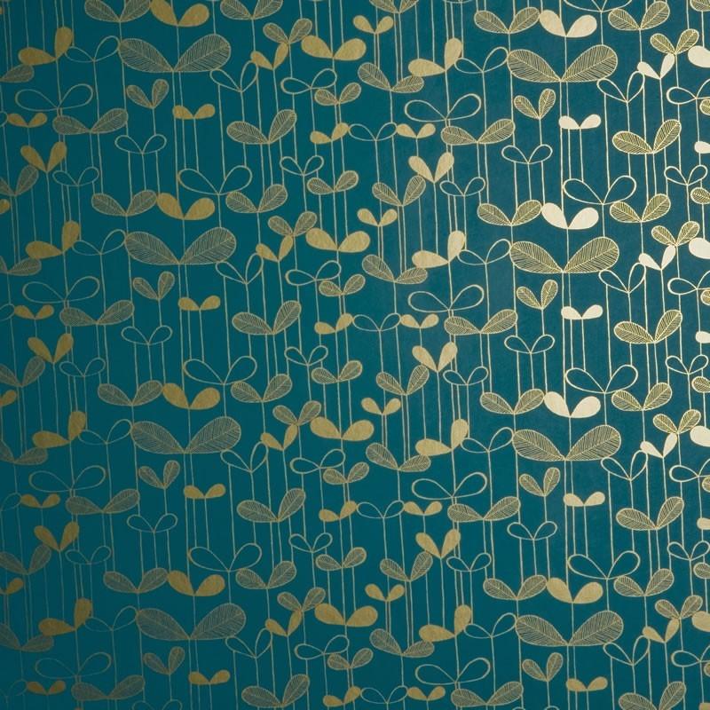 Missprint saplings misp1012 wallpaper turquoise wallpaper for Gold wallpaper for home
