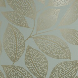 Pebble Leaf Verdigris Wallpaper
