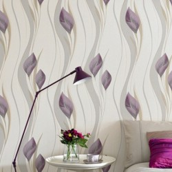 Peace Plum Purple and Cream Wallpaper