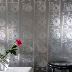Minispiral Charcoal Grey and Silver Wallpaper