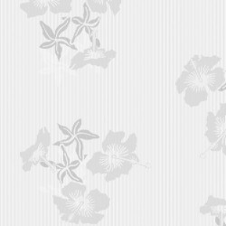 Hibiscus Grey & White Wallpaper