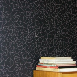 Windmill White on Black Wallpaper